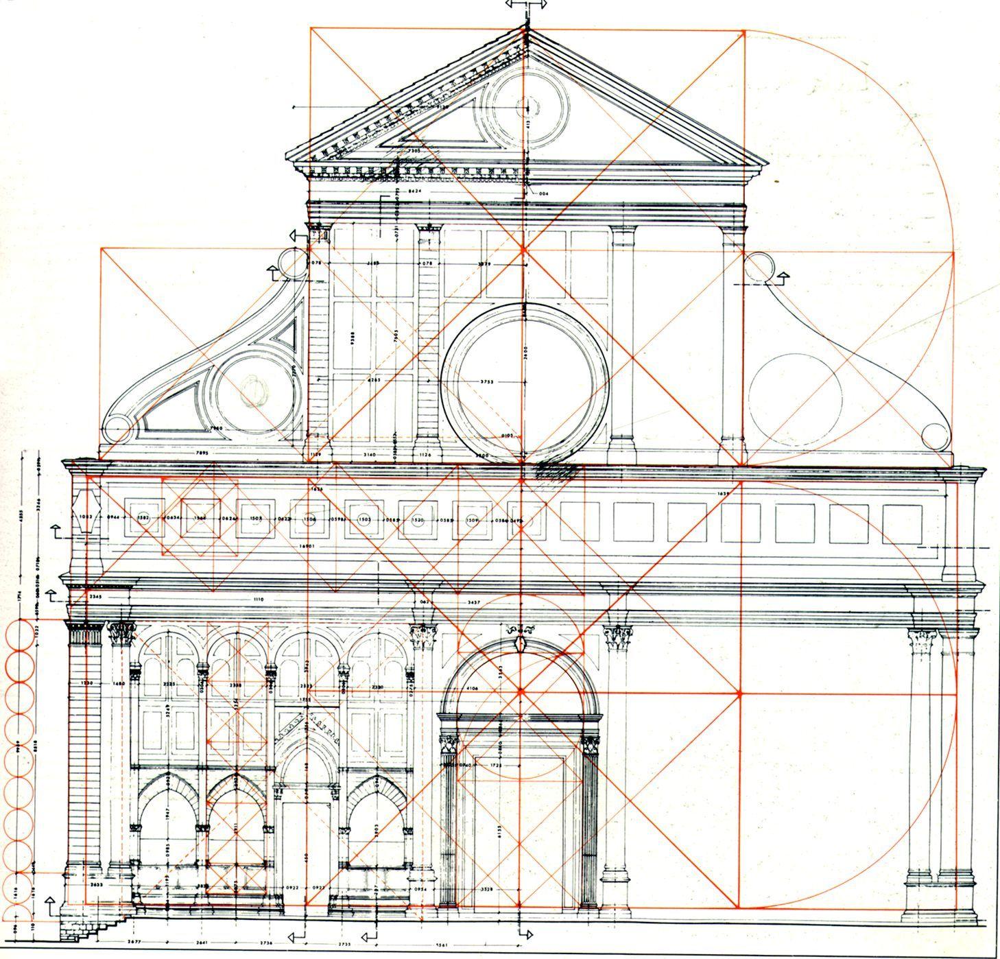 Leon battista alberti geometrical scheme of the facade of for Architecture classique