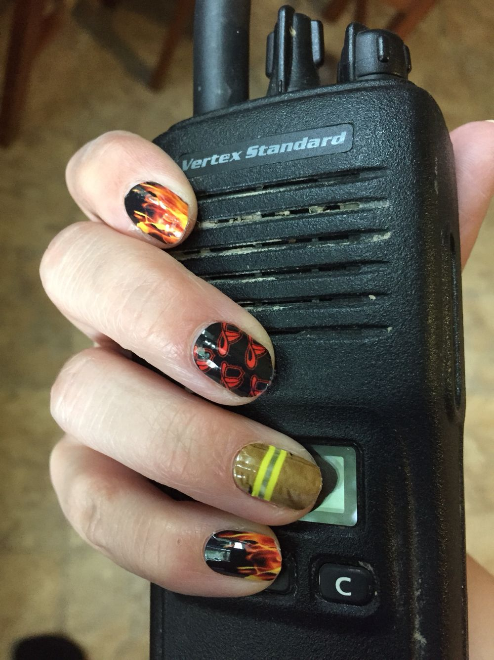 Love my firefighter nails!!! What a great way to support my hubby ...