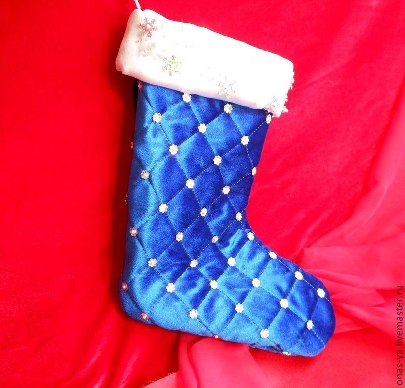 Купить Новогодний сапожок для подарков - тёмно-синий, сапожок для подарков, новогодний сапожок
