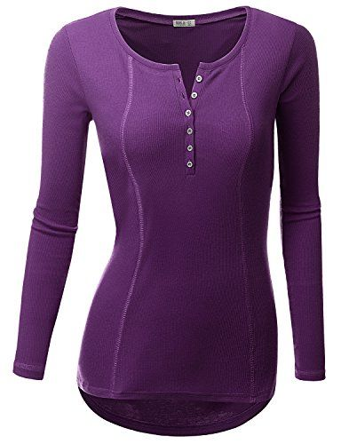 1b7f0ba4 Doublju Women Day-to-Night Button-down 3/4 Sleeve Tunic | Violet ...