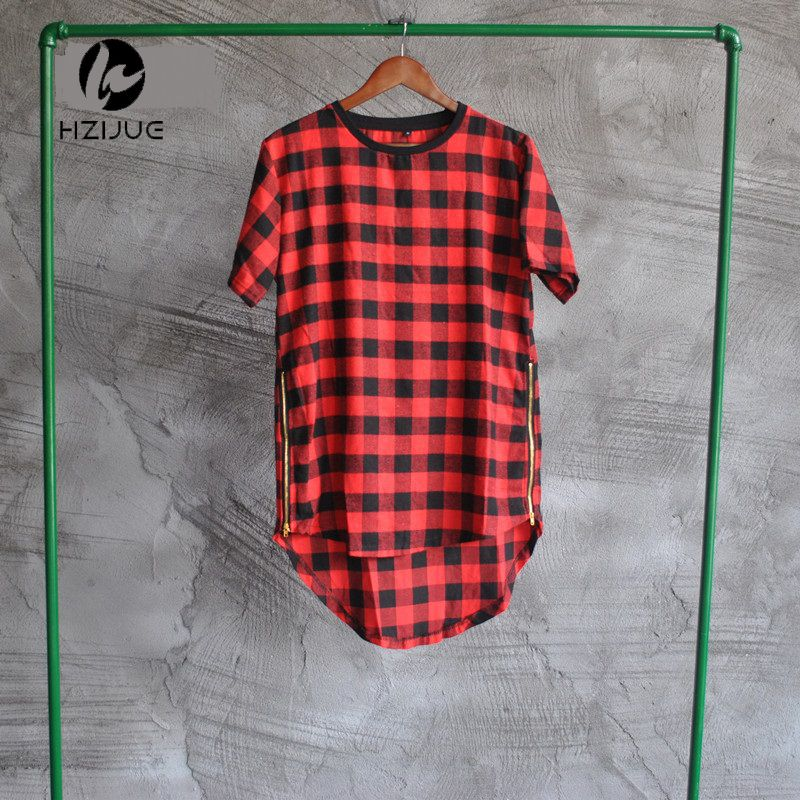 HZIJUE  Brand New Clothing Mens Checked Shirt Hip Hop plaid t shirt Zipper Hiphop Swag T-shirts Streetwear Mens Tyga male Tshirt #Affiliate