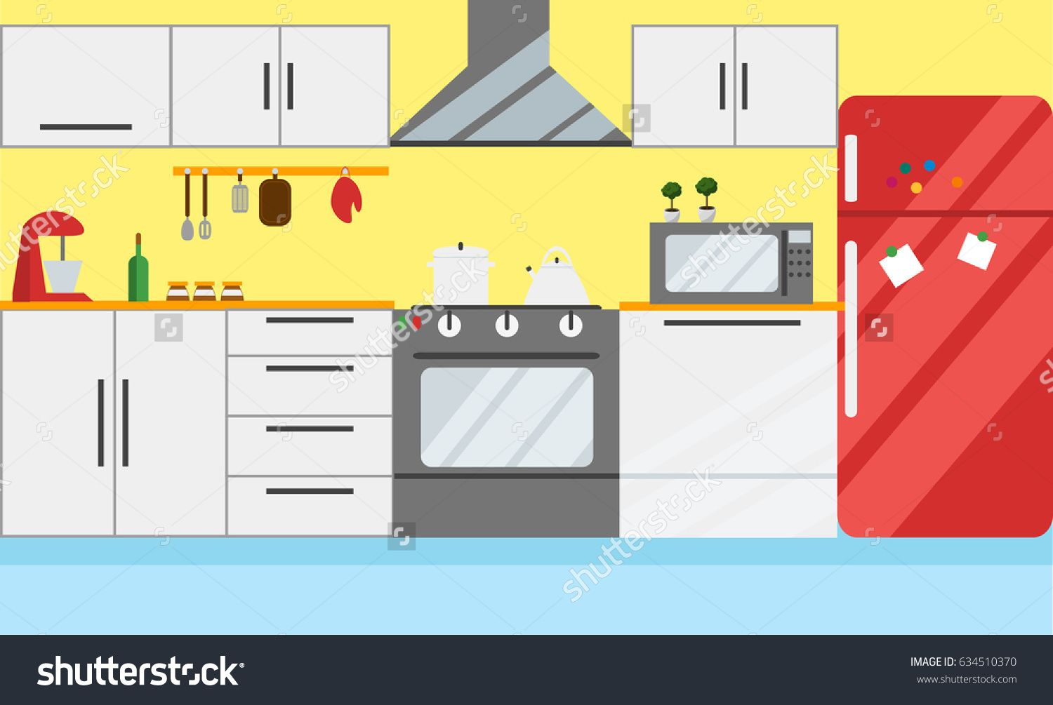 Cartoon kitchen with cabinets and window vector art illustration - Kitchen Vector Illustration Flat Design Cute Drawing Of Bright Kitchen