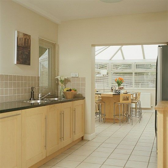 Narrow Galley Kitchen Ideas: Modern Galley Kitchen/conservatory Diner