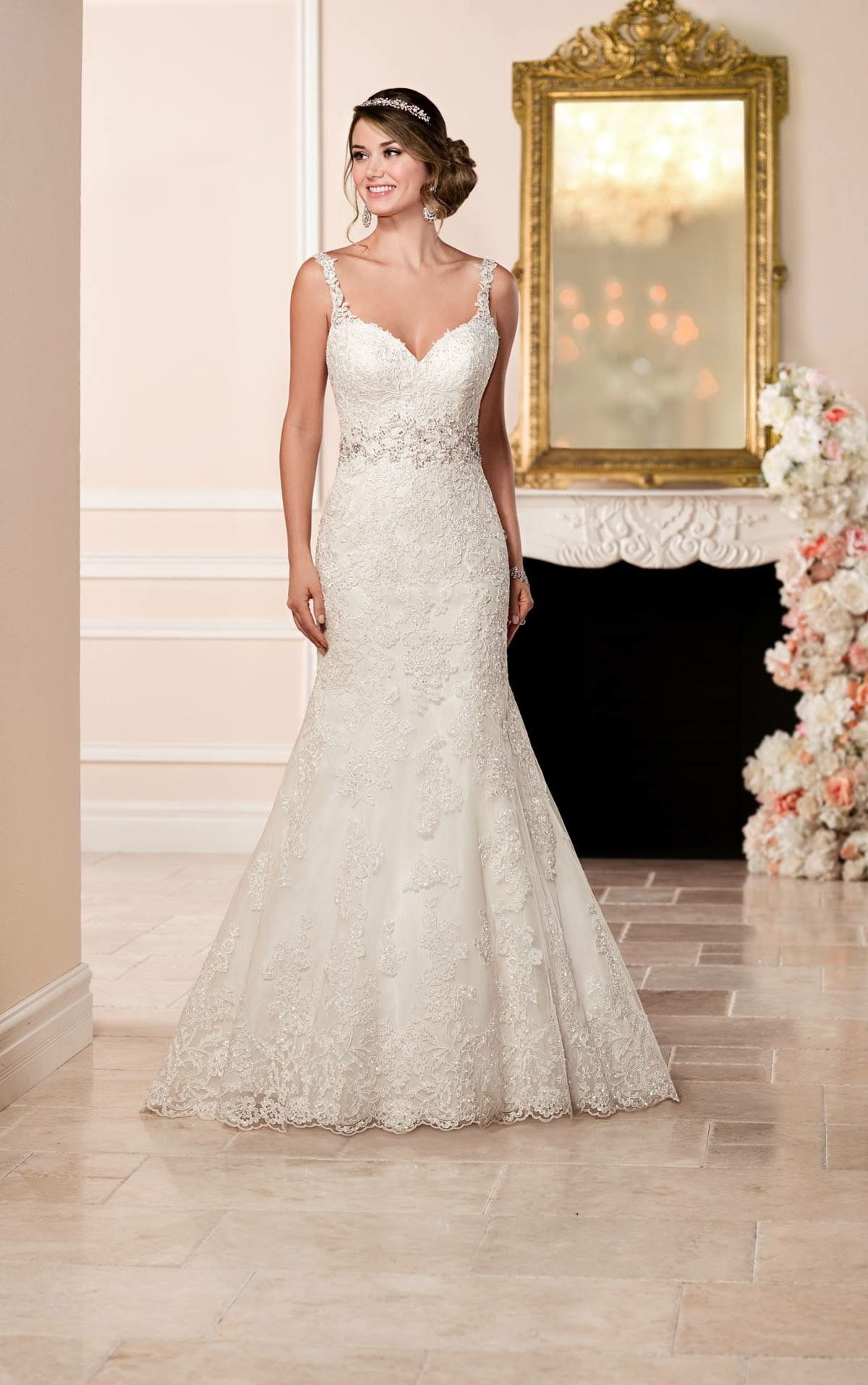 Lace fit and flare wedding dress with sleeves  Pin by Sarah Hamilton on wedding day ideas  Pinterest  Wedding