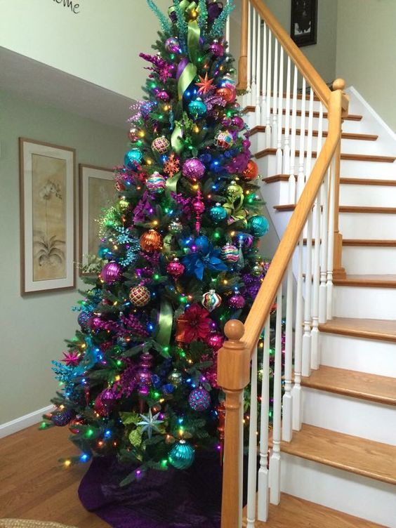 Jewel Tone Christmas Tree Decor Stands Out In Every Space Cool Christmas Trees Colorful Christmas Tree Beautiful Christmas Trees