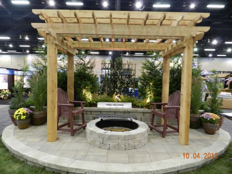 Pergola With Firepit Rustic Fire Pits Small Backyard Patio