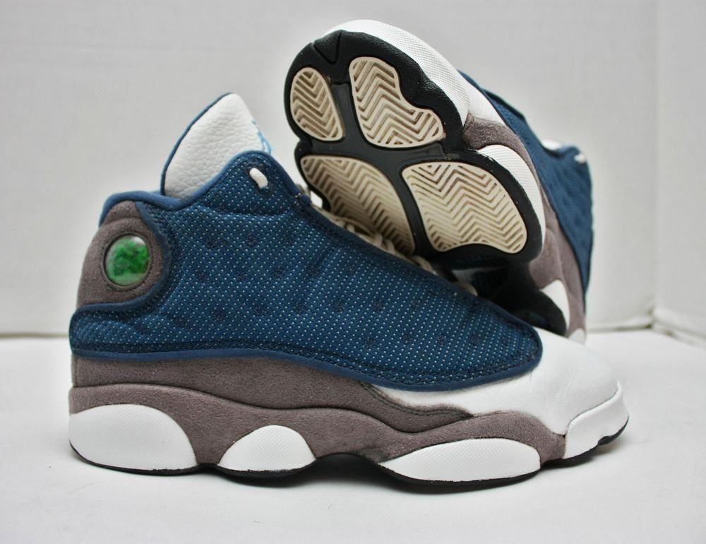 Nike Air Jordan XIII 13 Retro Size 7 -White French Blue Flint Grey- 414574