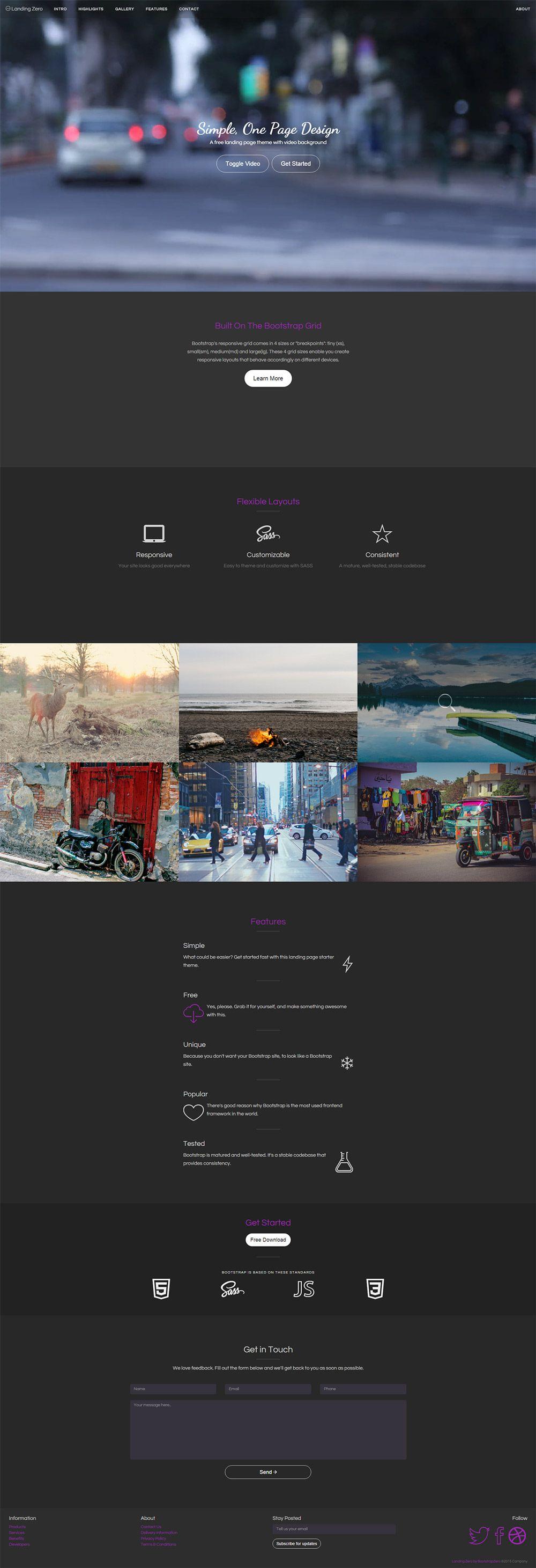 landing zero free bootstrap landing page template template