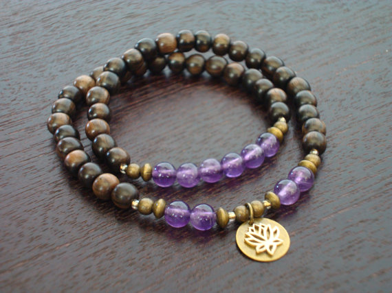 Mala Amethyst Brass Bracelet