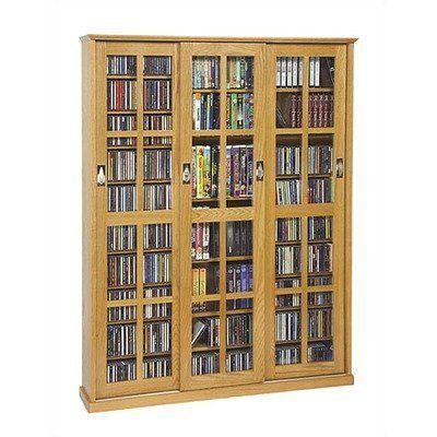 Oak Leslie Dame Mission Multimedia DVD//CD Storage Cabinet with Sliding Glass Doors