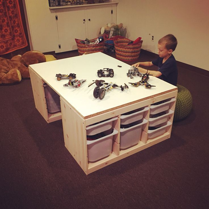 DIY Lego Tisch bestehend aus 2 IKEA Trofast Lagereinheiten und einer speziell geschnittenen MDF-Platte - #aus #bestehend #DIY #einer #geschnittenen #IKEA #Lagereinheiten #LEGO #MDFPlatte #speziell #Tisch #Trofast #und