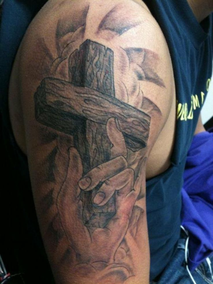 Pin On Upper Shoulder Cross Tattoos