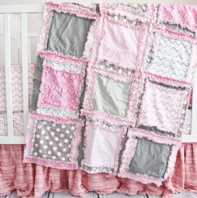 Baby Girl Crib Bedding Baby Pink Gray Nursery Baby Girl Crib