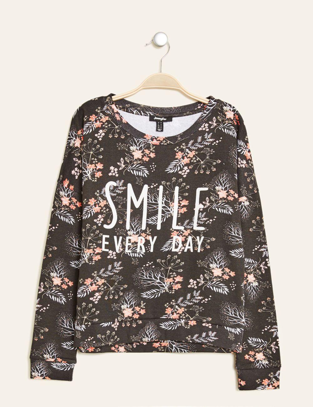 sweat fleuri imprimé noir femme • jennyfer | vêtements | pinterest