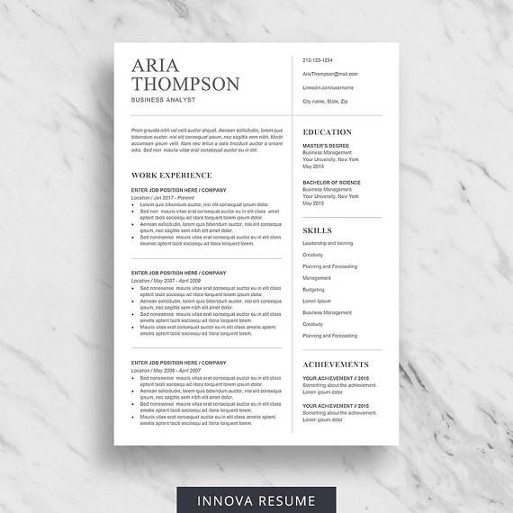 Minimalist Resume Template For Word