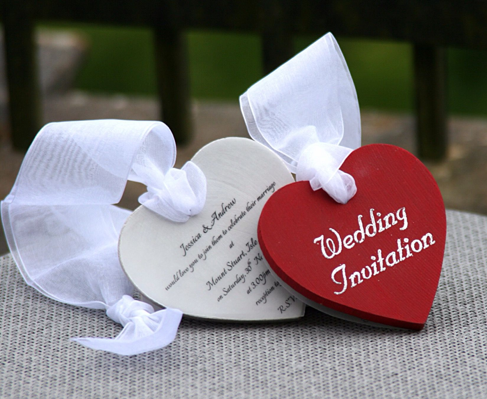 Handmade Wooden Heart Wedding Invitations by AniMac Design at www ...