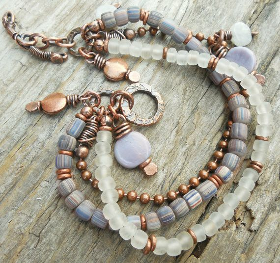 Unique Beaded Periwinkle Seashell Coloring Page: Antiqued Copper Metalwork Bracelet Heart Periwinkle