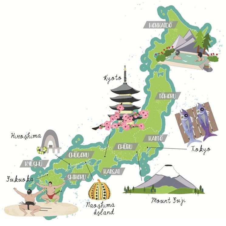 Hiroshima Map Of Japan.Illustrated Japan Map Hokkaido Mount Fuji Hiroshima Kyoto Sumo
