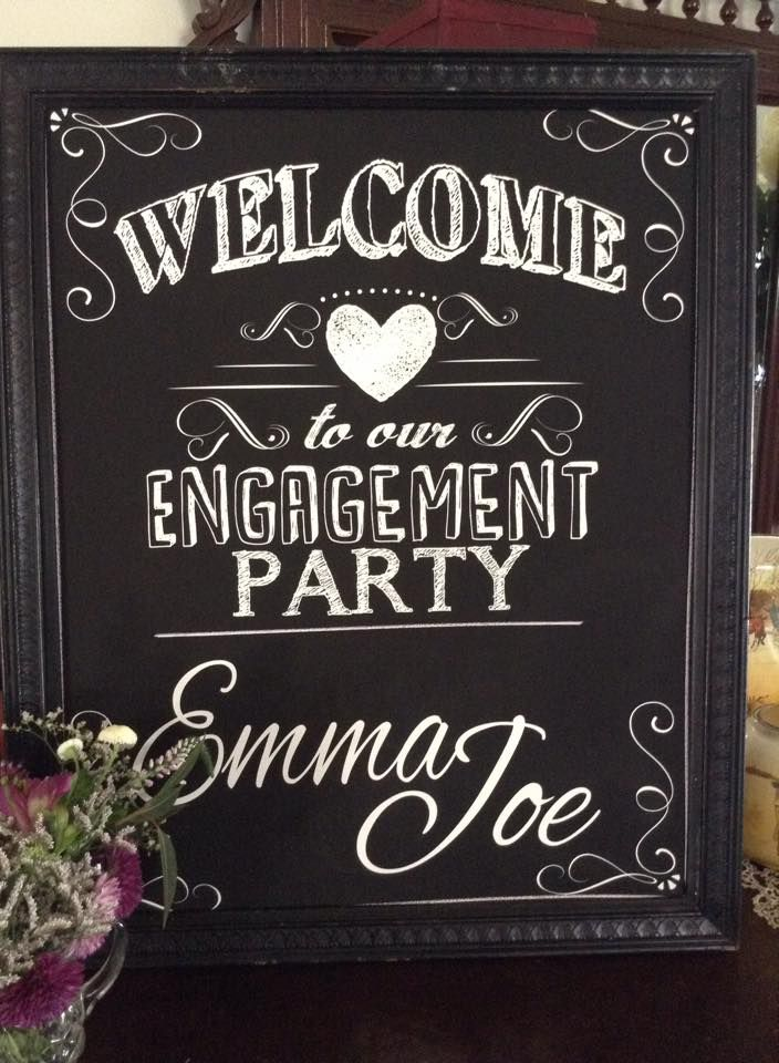 Engagement Party Ideas Modern Chalkboard Style Welcome Signs