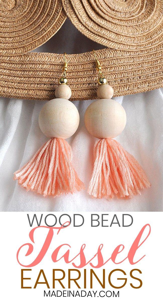 Photo of How to Make Natural Wood Bead Tassel Earrings