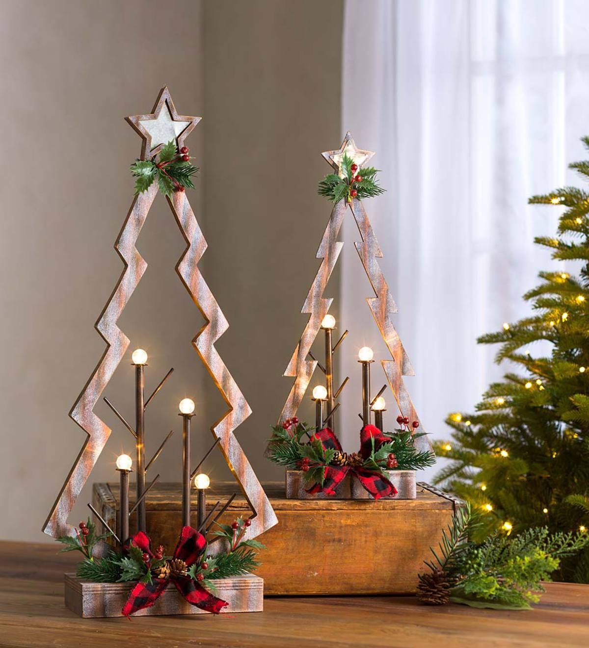 Our Set Of Two Tabletop Lighted Wooden Christmas Trees Is A New Take On A Traditional H Wooden Christmas Trees Wooden Christmas Tree Decorations Christmas Wood