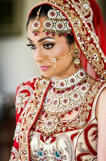 tikka wedding necklace earrings head piece and nose ring