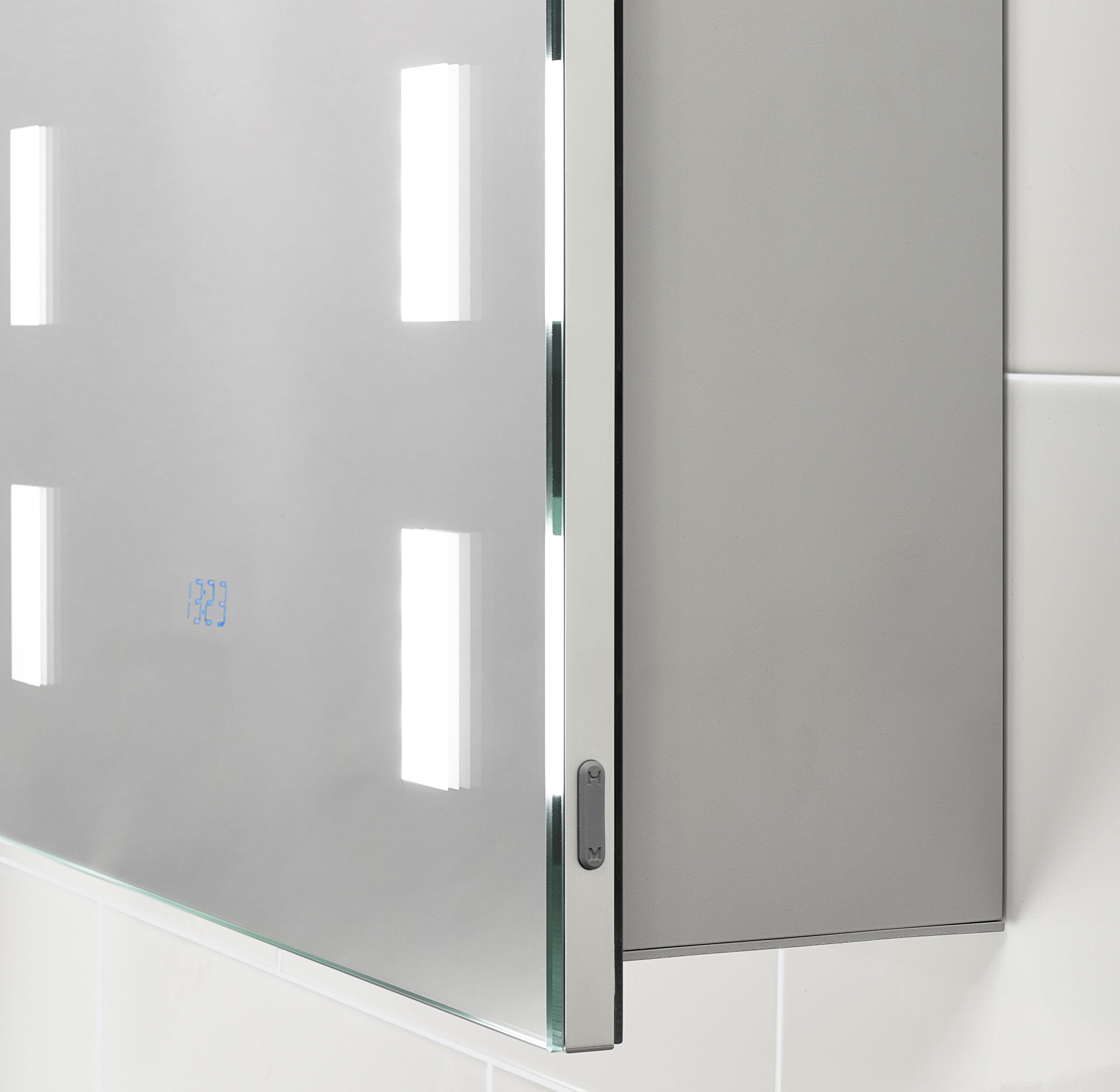 Renee Illuminated Cabinet With Built In Digital Clock 500 X 700 Mm Cabinet Bathroom Cabinets Locker Storage