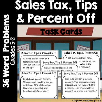 Sales Tax Tips And Percent Off Task Cards Word Problems Math Word Problems Word Problems Task Cards