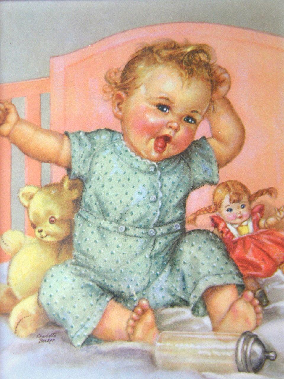 Charlotte Becker Chromolitho: 1940s Framed Baby Print, Pastel Cottage / Shabby Chic Decor.