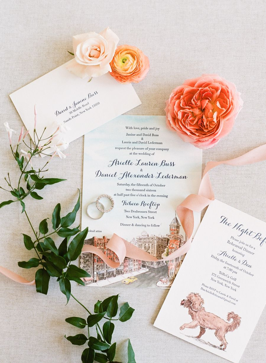We Found The Ultimate New York City Wedding City Wedding Invitations Peach Wedding Invitations Wedding Invitations Stationery