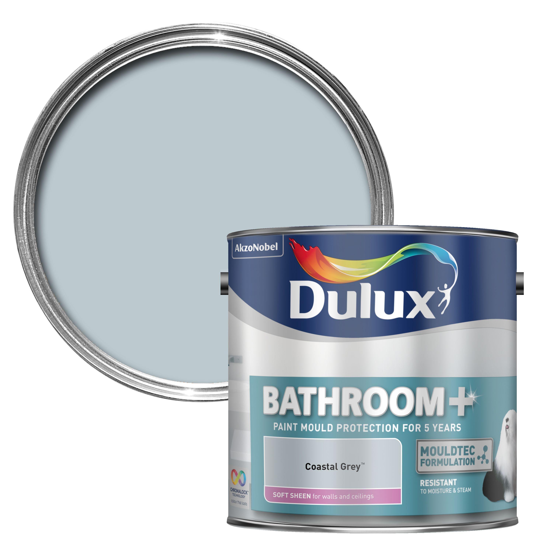 Dulux Bathroom Coastal Grey Soft Sheen Paint 2 5l Departments Diy At B Q Dulux Painting Bathroom Dulux Bathroom Paint