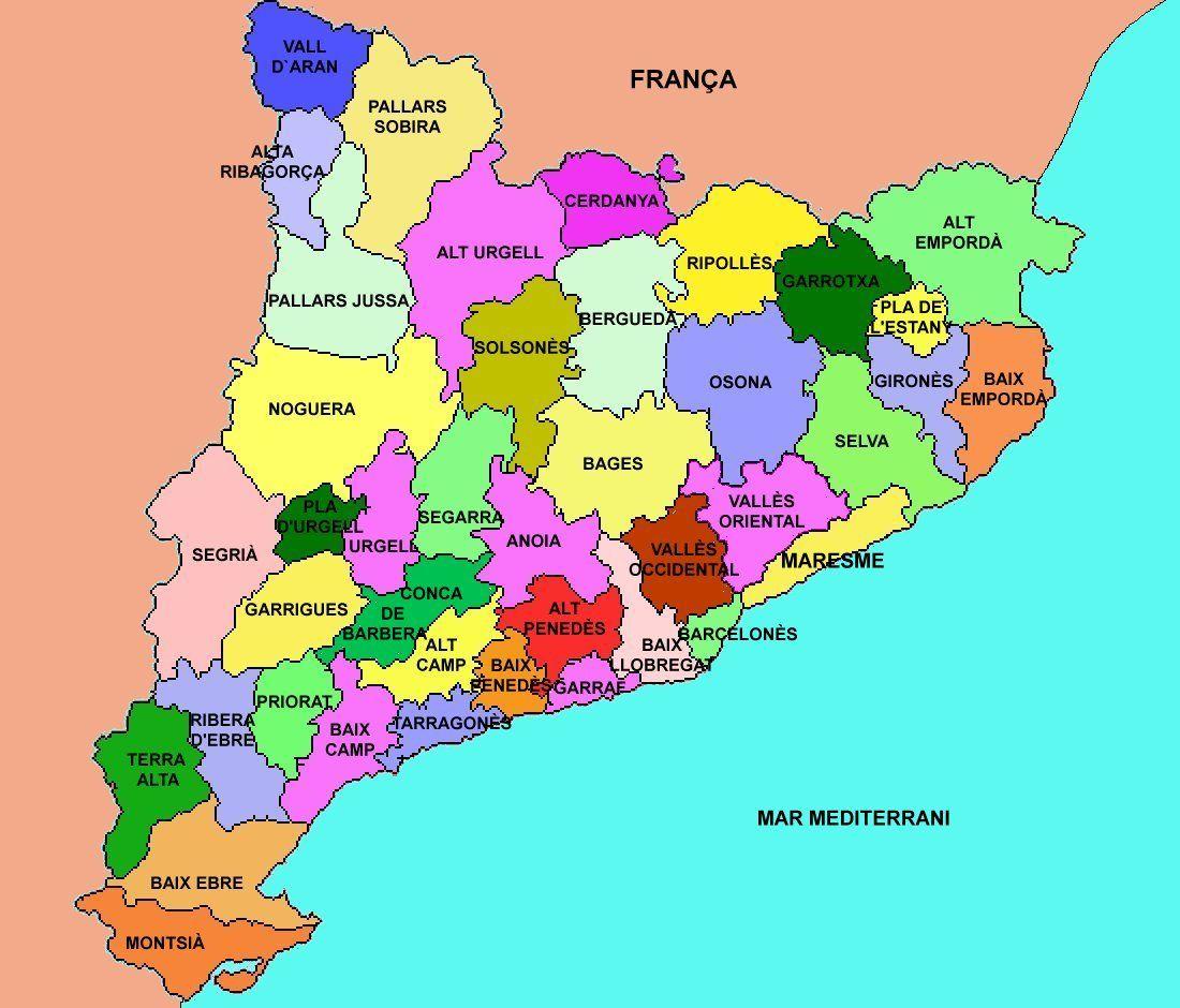 Mapa Comarques De Catalunya Per Imprimir.Les Comarques De Catalunya Mapas Geografia Y Recursos