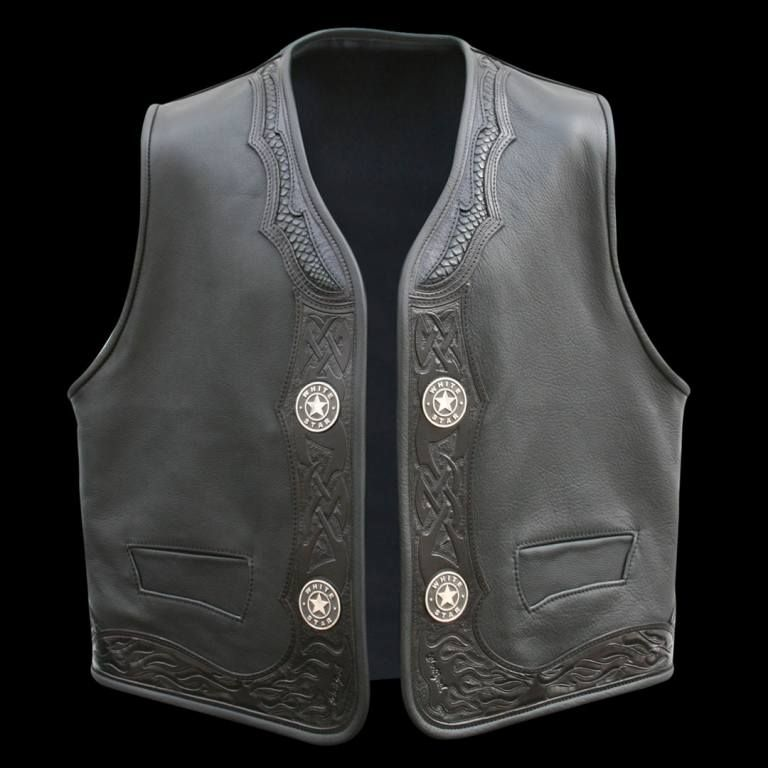 Biker Lederweste Viking Warrior Blockhead Leather Vest