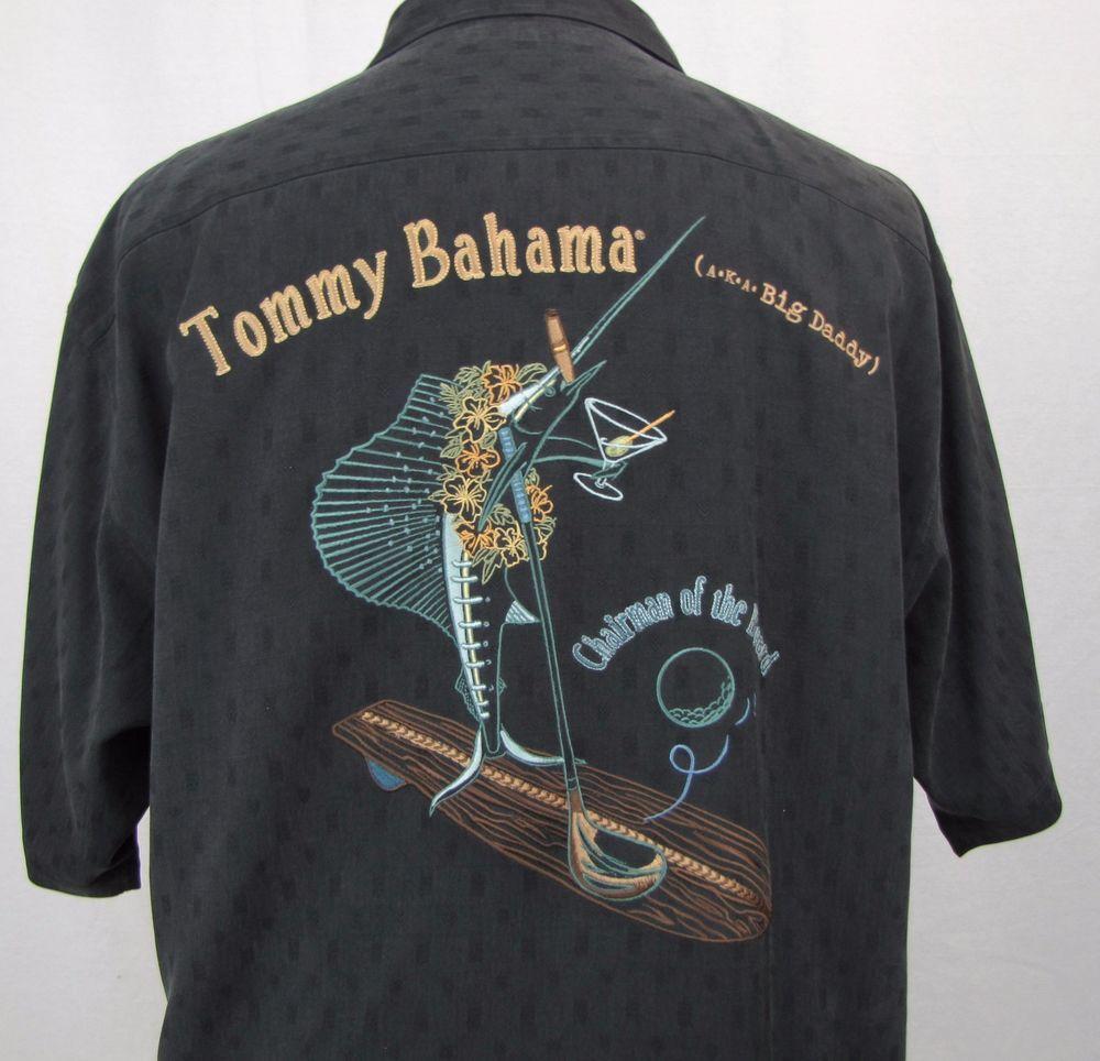 ec194adf19e5 Tommy Bahama Shirt Large Hawaiian Big Daddy Chairman Marlin Embroidered  Golf #TommyBahama #Hawaiian