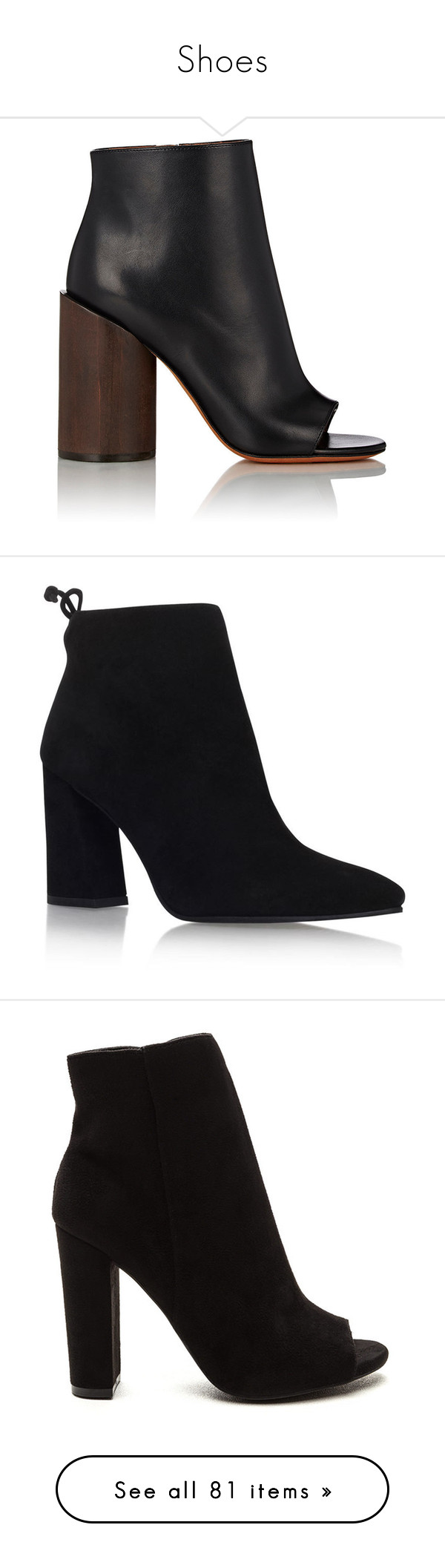"""""""Shoes"""" by gina-cremont on Polyvore featuring shoes, boots, ankle booties, heels, ankle boots, booties, colorless, black boots, black bootie and black ankle booties"""