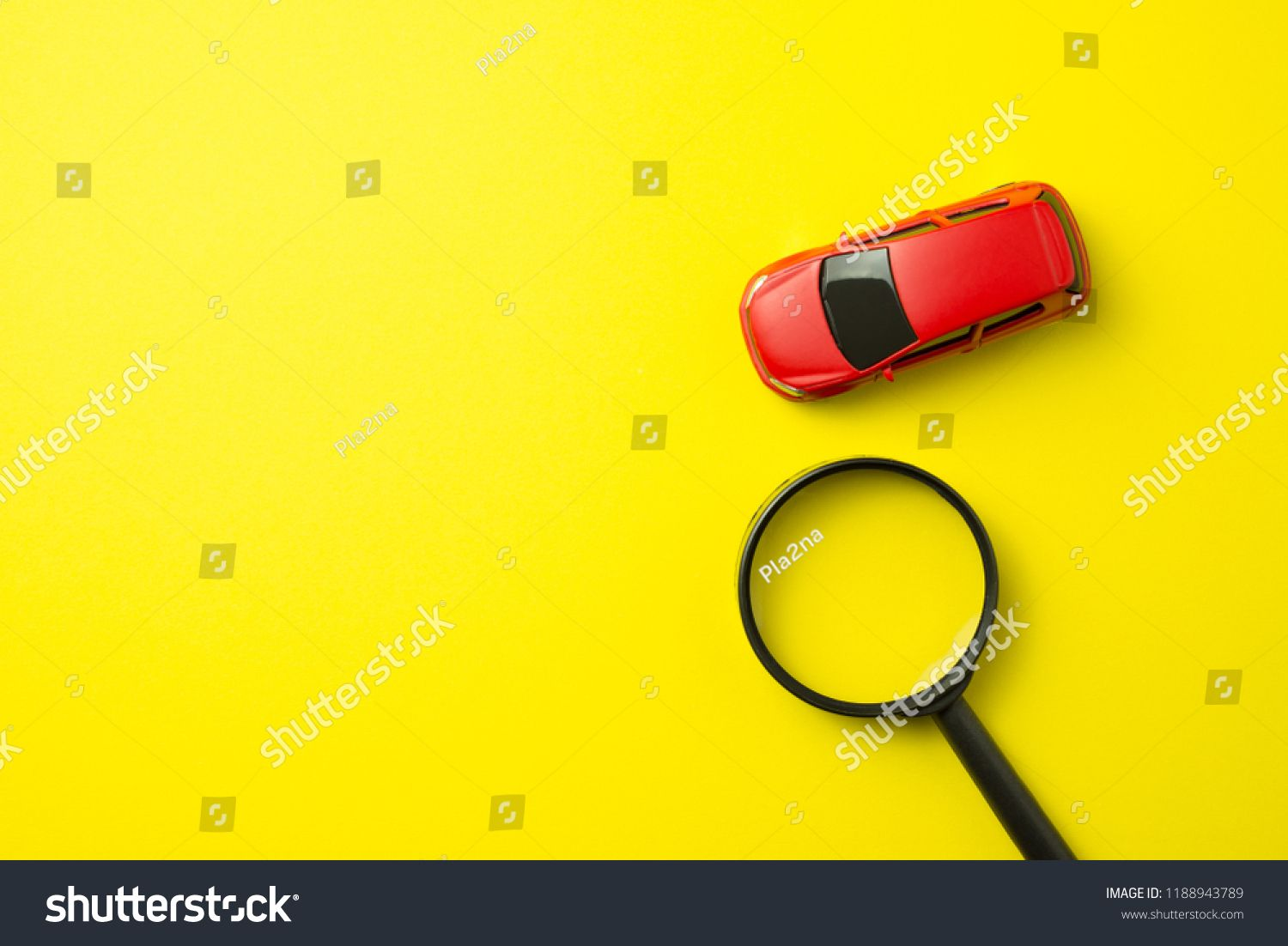 Red Car And Magnifying Glass On Yellow Background With Copy Space Auto Insurance Business Con Auto Insurance Quotes Business Insurance Graphic Design Business