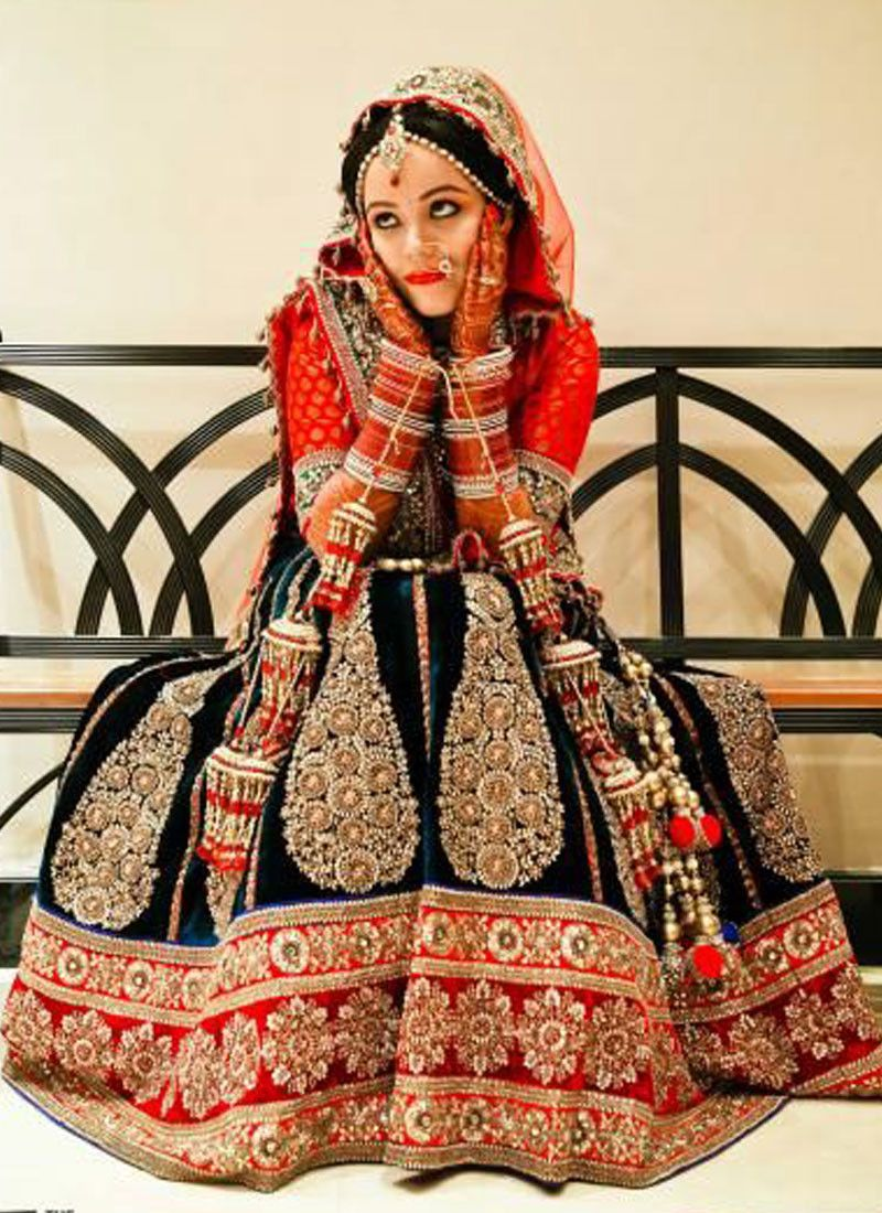 Navy Blue Red And Orange Bridal Lehenga Butterflies Of India And