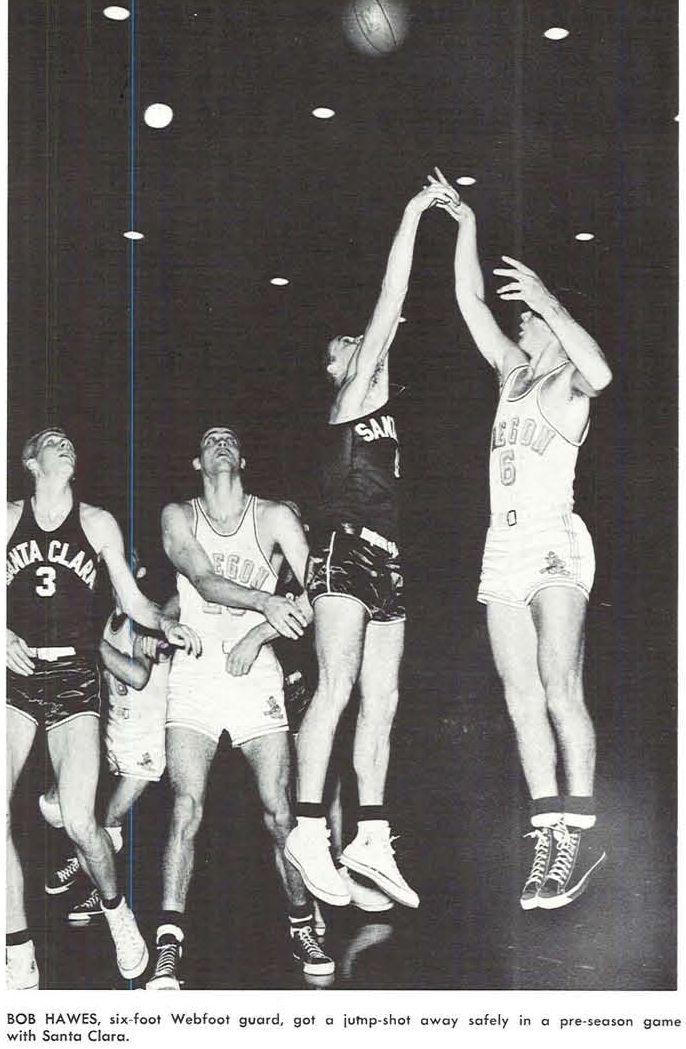 Oregon Basketball Player Bob Hawes Takes A Shot Vs Santa Clara 1952 From The 1953 Oregana University Basketball History Oregon Basketball Basketball Players