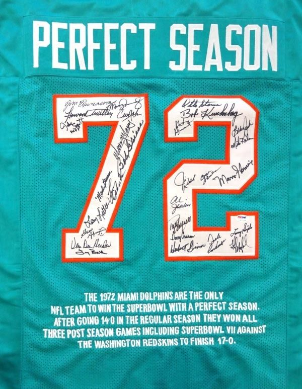 1972 Perfect Season Autographed Miami Dolphins Teal Jersey With 28