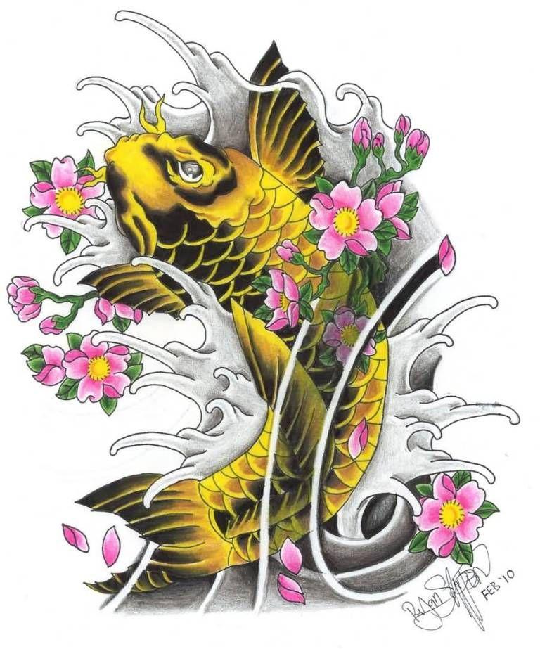 5e59adf32 ... Koi Fish And Lotus Flower: Yellow-koi-fish-pink-lotus-