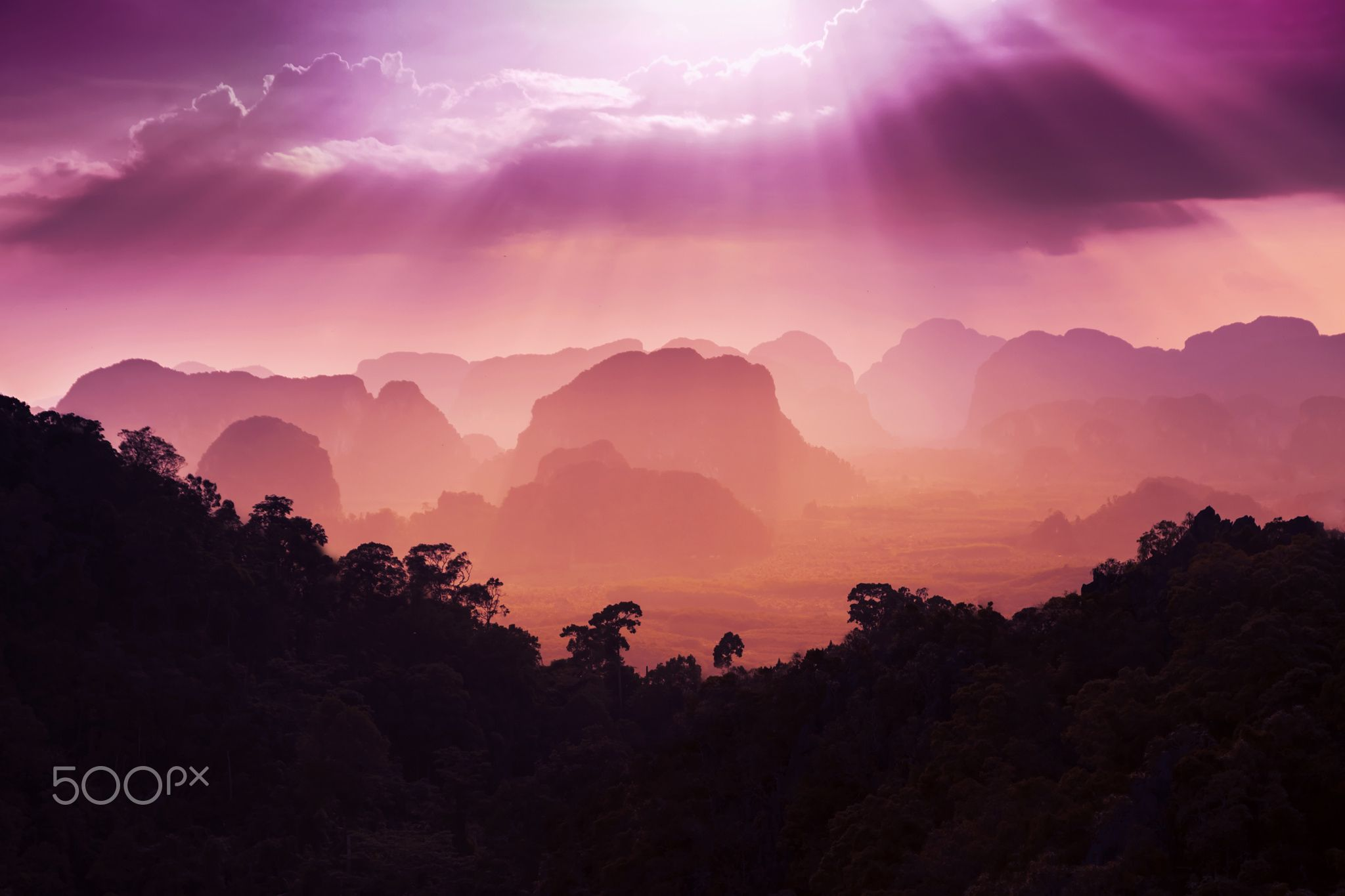 Sunset view - Sunset view of the beauty mountains
