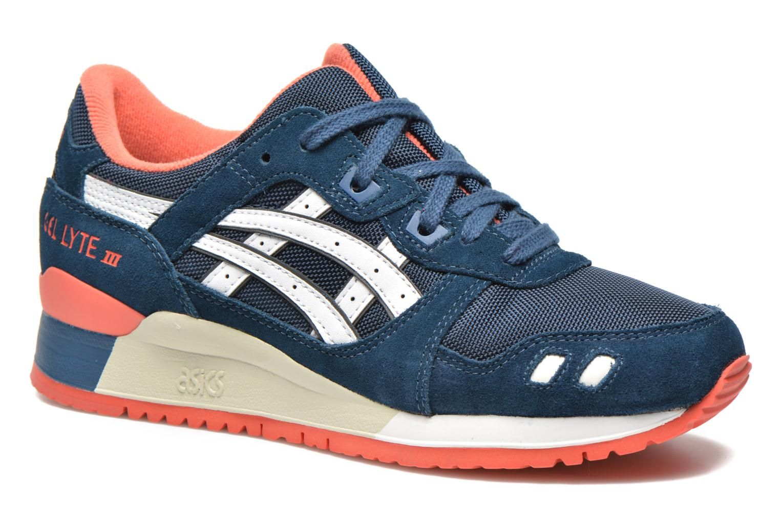 asics tiger dames gel lyte iii sneakers lichtblauw/wit