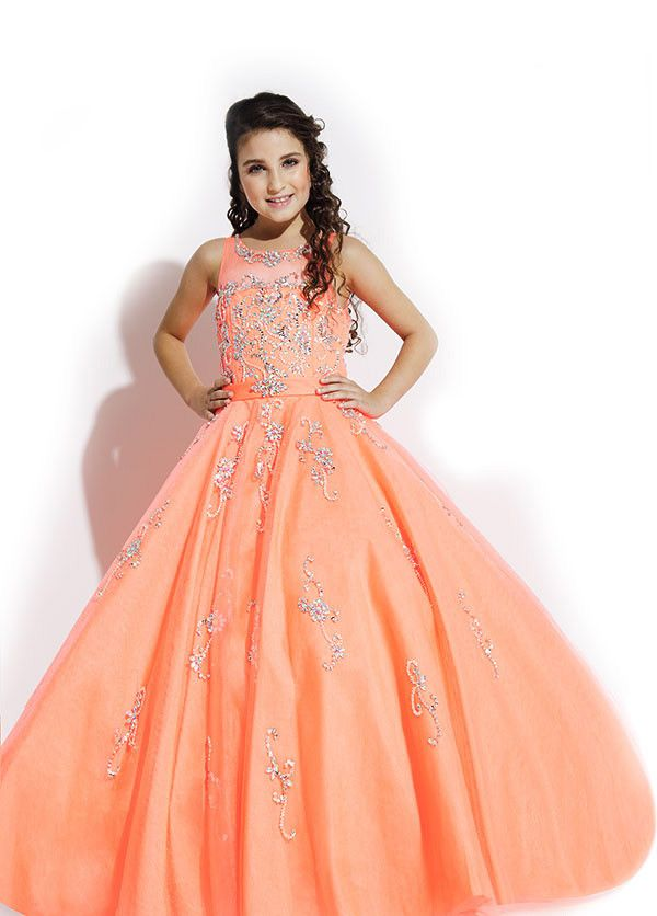 Wishesbridal Beaded Illusion Tulle Orange Ball Gown Girls Pageant ...