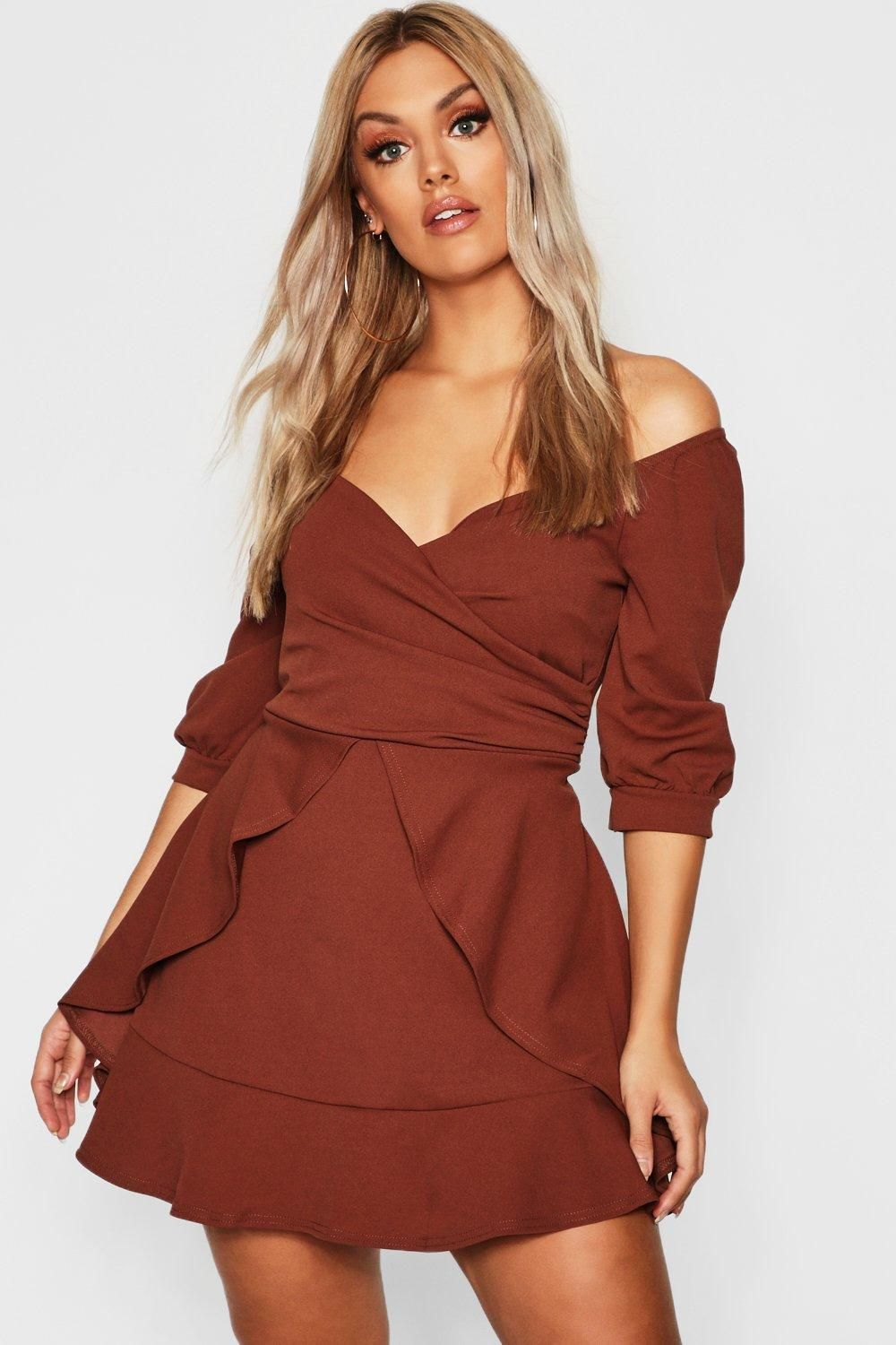 f90fa77d483 Click here to find out about the Plus Bardot Ruffle Skater Dress from Boohoo