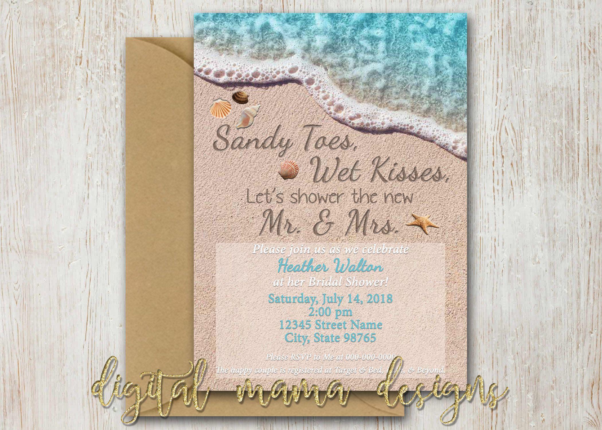 Beach Themed Bridal Shower Invitation Summer Beach Theme Party Invite Ocean Brid Beach Theme Bridal Shower Wedding Shower Themes Wedding Shower Invitations