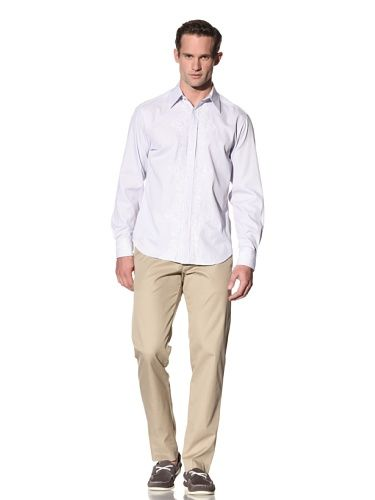 87% OFF J. Campbell Los Angeles Men\'s Lector Long Sleeve Embroidery Button-Front Shirt (Blue)