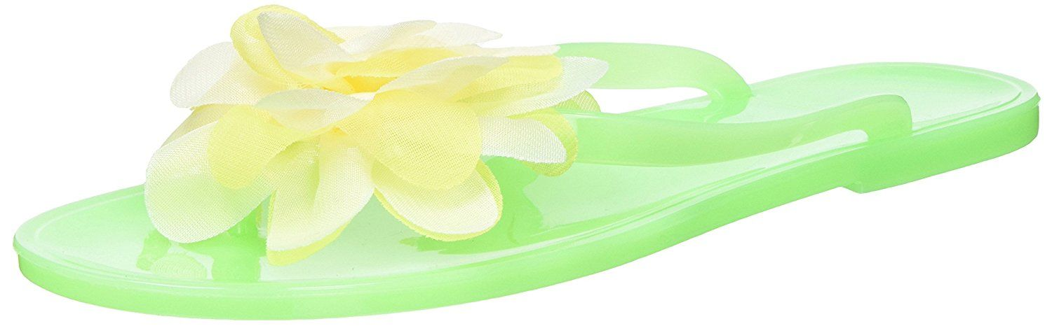 Lime Flip Flops with White/Yellow Blossom Medium 2 Count
