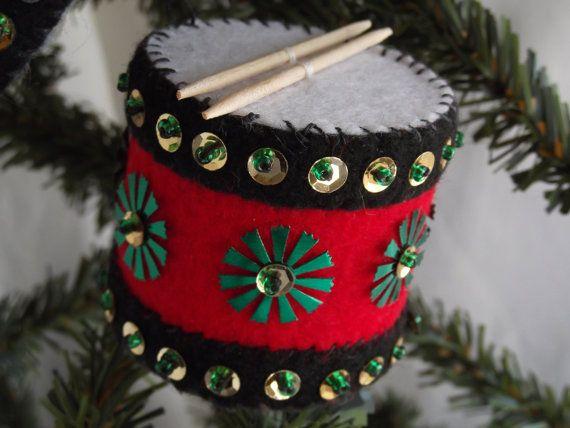 12 Drummers Drumming Felt Christmas Ornaments Christmas
