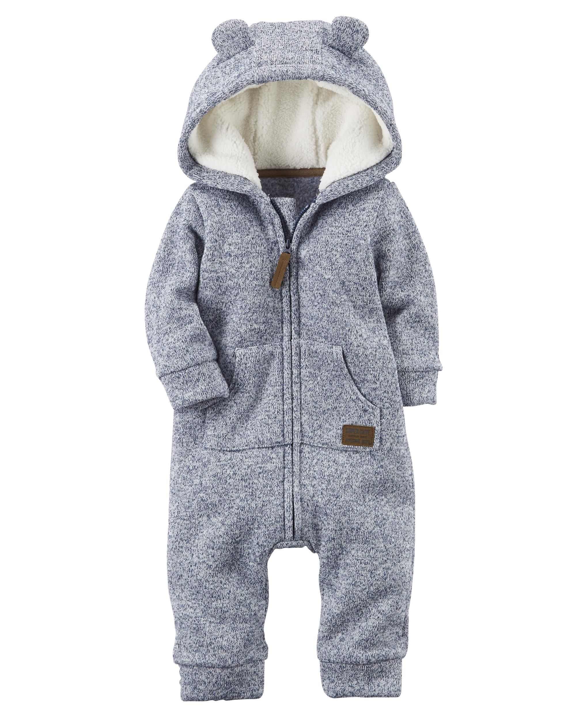 Zipup hooded sherpa jumpsuit chilly weather babies and babies
