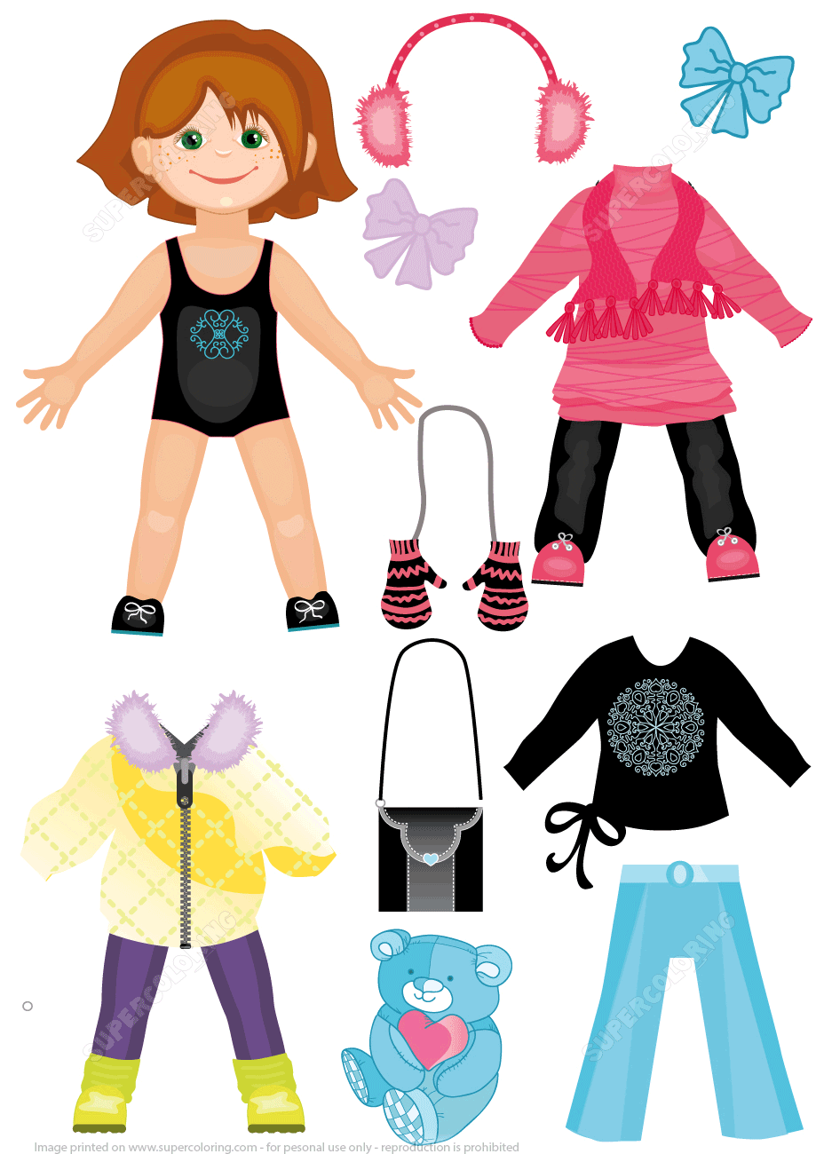 image regarding Printable Dress Up Paper Dolls referred to as Established of Wintertime Clothing for a Adorable Lady Paper Doll versus Gown